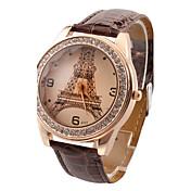 아가씨들 패션 시계 모조 다이아몬드 석영 PU 밴드 에펠탑 캐쥬얼 블랙 화이트 레드 브라운 로즈