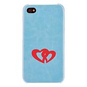Solid corazón del color para la PC dura del caso del patrón del corazón con interior flocado protecciónde iPhone 4/4S (colores opcionales)