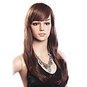 여성 인간의 머리카락없는 Capless 가발 밀도 뱅포함 가발 긴 사이드 파트