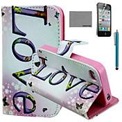 코코는 아이폰 4 / 4S를위한 스크린 보호 및 USB 케이블과 스타일러스 수평 사랑 패턴 PU 가죽 케이스를 fun®