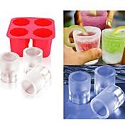 taza DIY del hielo del molde del molde aparece moldes de paletas de yogurt congelado cuadro frigorífico congelador golosinas (de color