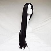 여성 인조 합성 가발 캡 없음 스트레이트 야키 블랙 코스플레이 가발 의상 가발
