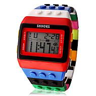 Naisten Muotikello Kello Wood Digitaalinen Watch Digitaalinen LCD Kalenteri Ajanotto hälytys Plastic Bändi Karkki Tyylikäs Monivärinen