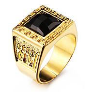 Miesten Tyylikkäät sormukset Gemstone Black Love Personoitu pukukorut Ruostumaton teräs Akryyli Gold Plated 18K kulta Square Shape