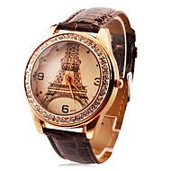 személyre szabott divatos női karóra luxus gyémánt Eiffel-torony pu zenekar