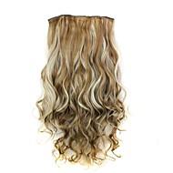 24 polegadas 120g calor longa de fibra sintética resistente encaracolado clipe em extensões de cabelo com 5 clips