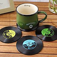 bağbozumu vinil coaster groovy cd kayıt tablosu bar içecekler fincan mat 1pc (ramdon renk)