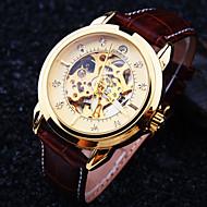 Męskie Zegarek na nadgarstek zegarek mechaniczny Nakręcanie automatyczne Wodoszczelny Grawerowane Skóra Pasmo Ekskluzywne Brązowy