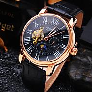 Męskie Zegarek na nadgarstek zegarek mechaniczny Nakręcanie automatyczne Wodoszczelny Grawerowane Skóra Pasmo Ekskluzywne Czarny Brązowy