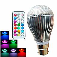 9W B22 LED-globepærer A60(A19) 3 Højeffekts-LED 500 lm RGB Justérbar lysstyrke Fjernstyret Dekorativ Vekselstrøm 100-240 V 1 stk.
