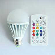 9W E26/E27 LED Λάμπες Σφαίρα A60(A19) 3 LED Υψηλης Ισχύος 550 lm RGB Με Ροοστάτη / Ενεργοποίηση Ήχου / Τηλεχειριζόμενο / ΔιακοσμητικόAC