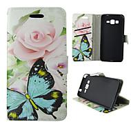 Mert Samsung Galaxy tok Kártyatartó / Pénztárca / Állvánnyal / Flip Case Teljes védelem Case Pillangó Műbőr SamsungTrend Duos / J5 / J1 /