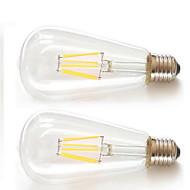 2 stuks kwb e26 / e27 6w 6xfilament cob 600lm warm wit led st64 retro led gloeilampen ac85-265v