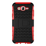 dekt zachte siliconen hard plastic hoes voor de Samsung Galaxy J5 / J7 geval houder stand telefoon geval