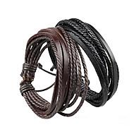 Heren Dames Voor Stel Wikkelarmbanden Verstelbaar gevlochten Meerlaags Eenvoudige Stijl Kostuum juwelen Leder Sieraden Sieraden Voor