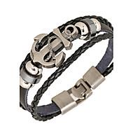 Heren Lederen armbanden Wikkelarmbanden Basisontwerp Kostuum juwelen Punk-stijl PERSGepersonaliseerd Inspirerend Leder Legering Ronde