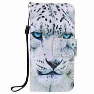 witte luipaard schilderij pu telefoon geval voor apple itouch 5 6