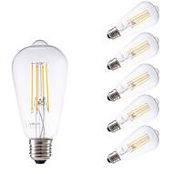 4W E26/E27 LED Λάμπες Πυράκτωσης ST58 4 COB 450 lm Θερμό Λευκό Με Ροοστάτη / Διακοσμητικό AC 220-240 V 6 τμχ