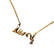 Damskie Oświadczenie Naszyjniki Perlový náhrdelník Perłowy Stop Początkowa Biżuteria Silver Golden Biżuteria NaŚlub Impreza Codzienny