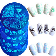 10st / set warm te koop nail art stempelen plaat mooie cartoon hart mooie vlinder bloem ontwerp manicure diy beauty stencils nagel diy