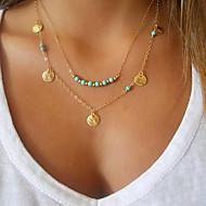 Dame Halskædevedhæng Turkis Smykker Guldbelagt Turkis Legering Enkelt design Dobbeltlags Personaliseret Mode kostume smykker Smykker Til