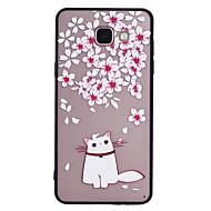 Dla samsung galaxy a5 (2017) a3 (2017) obudowa telefonu komórka kwiatowy wzór kota malowany lakier wytłaczana skrzynka telefonu peeling