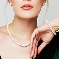 Γυναικεία Σετ Κοσμημάτων Βραχιόλια με Αλυσίδα & Κούμπωμα Σκέλη Κολιέ Coliere cu Perle Circle Shape ΚοσμήματαΜαργαριτάρι Προσομειωμένο