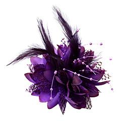 Kobiety Flower Girl Pióro Bawełna Winieta-Ślub Piękny Fascinators Kwiaty