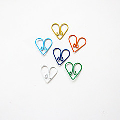 심장 패턴 플라스틱 포장 종이 클립 (10PCS 임의의 색)