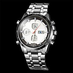 Herre Kjoleur Quartz Japansk Quartz LCD Kompas Kalender Kronograf Vandafvisende Dobbelte Tidszoner alarm Rustfrit stål Bånd SølvGuld Hvid