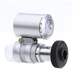 Iphone 5/5S için 2-LED Aydınlatma Döviz algılama UV Işık ile Mini 60X Mikroskop (3 * LR1130)