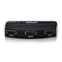 3 portowy hub box lcd kabel hdmi splitter wyłącznik automatyczny przełącznik HDTV 1080p, metalowa obudowa z zasilaczem 3d wsparcia