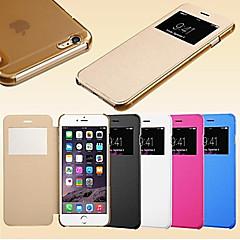 For iPhone 6 etui / iPhone 6 Plus etui Med vindue / Flip Etui Heldækkende Etui Helfarve Hårdt KunstlæderiPhone 6s Plus/6 Plus / iPhone