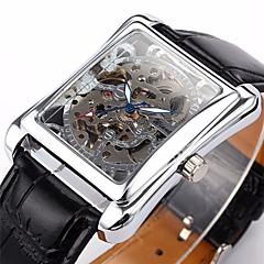 WINNER Heren Polshorloge mechanische horloges Automatisch opwindmechanisme Hol Gegraveerd PU Band Luxueus Zwart Zilver Gouden