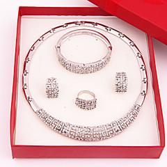 Mulheres Feminino Conjunto de Jóias Gema Moda Jóias de Luxo bijuterias Chapeado Dourado Imitações de Diamante Liga Colares Brincos Anéis