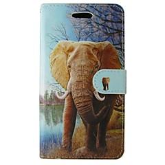 For Huawei etui P8 P8 Lite Pung Kortholder Med stativ Etui Heldækkende Etui Elefant Hårdt Kunstlæder for HuaweiHuawei P8 Huawei P8 Lite