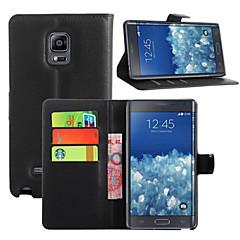 For Samsung Galaxy Note Kortholder Pung Med stativ Flip Etui Heldækkende Etui Helfarve Kunstlæder for Samsung Note Edge