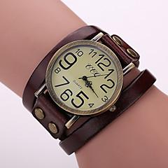 아가씨들 패션 시계 팔찌 시계 석영 가죽 밴드 빈티지 블랙 화이트 블루 레드 오렌지 브라운 그린