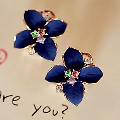 Feminino Brincos Curtos Brincos Compridos Moda Cristal Chapeado Dourado Imitações de Diamante Formato de Flor Jóias Para Festa Diário
