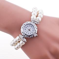 Dames Modieus horloge Armbandhorloge Kwarts Plastic Band Parels Elegante horloges Wit Blauw Rood Roze Wit Rood Blauw Roze