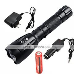 LED Lommelygter Lommelygter LED 2200/1000 Lumen 5 Tilstand Cree XM-L T6 1 x 18650 Batteri Justerbart Fokus Genopladelig Vandtæt for