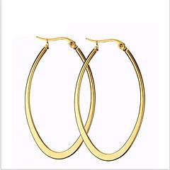 Damskie Kolczyki koła Modny biżuteria kostiumowa Stal tytanowa 18K złoty Circle Shape Oval Shape Biżuteria Na Impreza Codzienny Casual