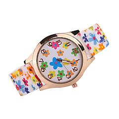 Dames Modieus horloge Kwarts Japanse quartz Vrijetijdshorloge Silicone Band Bloem Zwart Wit Bruin Meerkleurig Wit Zwart