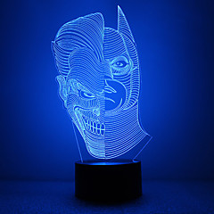 καταπληκτικό 3d lllusion οδήγησε επιτραπέζιο φωτιστικό φως τη νύχτα με διπλό σχήμα του προσώπου με το σχήμα του Batman με το σχήμα της