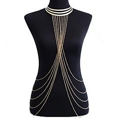 Dam Kroppssmycken Midjekedja Harness halsband Body Kedja / Belly Chain övergång Europeisk Bikini Statement-smycken kostym smycken Legering