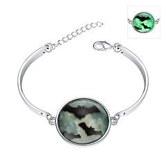 Herre Dame Charm-armbånd Armbånd Boheme Stil Punk Stil Justérbar Chrismas Mode Oplyst Europæisk Sølv Smaragd Rund form Grøn Smykker For