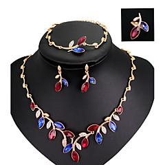 Conjunto de Jóias Colorido Moda Acrílico Strass Chapeado Dourado Liga Arco-Íris Colares Brincos Anéis Bracelete Para Casamento Festa1