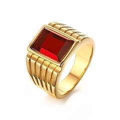 Férfi Női Karikagyűrűk Divat Személyre szabott Rozsdamentes acél Strassz Arannyal bevont Hamis gyémánt Ékszerek Kompatibilitás Parti Napi
