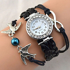 Dames Modieus horloge Polshorloge Armbandhorloge Kwarts Strass imitatie Diamond PU BandVintage Glitter Heart Shape Bohémien Parels Cool