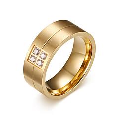 Heren Bandringen Bergkristal Modieus PERSGepersonaliseerd Kostuum juwelen Titanium Staal Sieraden Voor Dagelijks Causaal